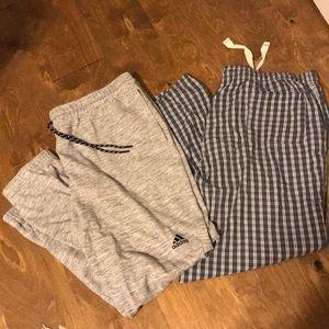 Set of 2 Men's XL Loungewear Pants Adidas & JCrew